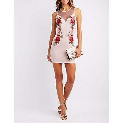 Embroidered Mesh-Trim Bodycon Dress