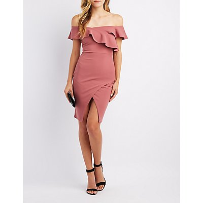 Asymmetrical Ruffle Bodycon Dress