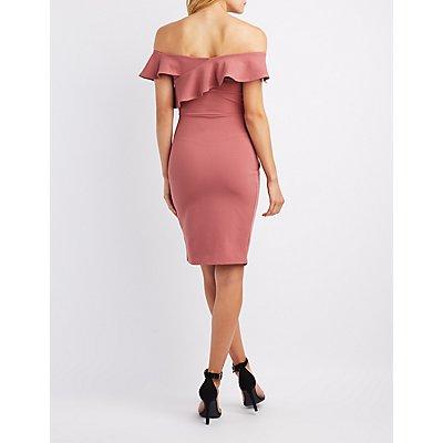 Asymmetrical Ruffle Bodycon Dress