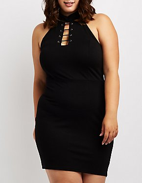 Plus Size Choker Neck Bodycon Dress