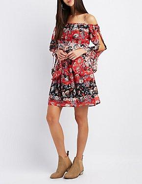 Floral Cold Shoulder Split Bell Sleeve Dress