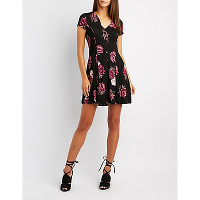 Floral Button-Up Skater Dress