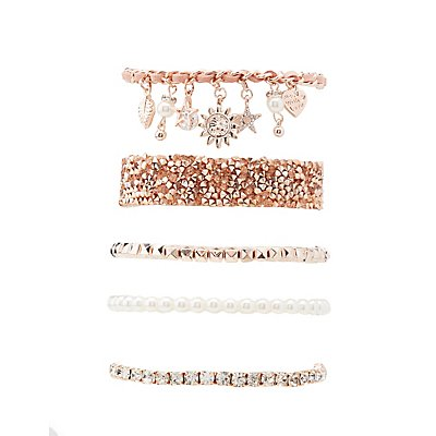 Plus Size Embellished Layering Bracelets - 5 Pack