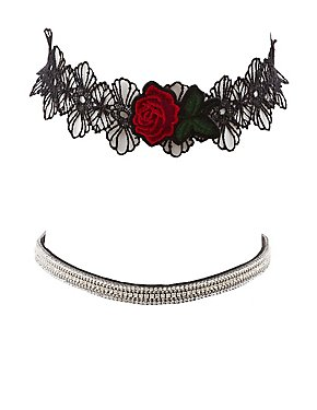 Plus Size Crochet & Crystal Choker Necklace - 2 Pack