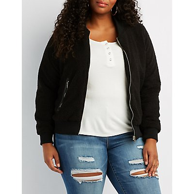 Plus Size Sherpa Bomber Jacket
