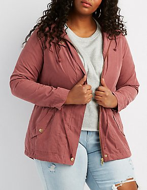 Plus Size Hooded Anorak Jacket