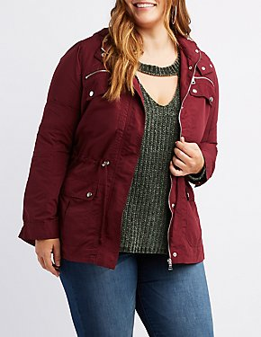 Plus Size Anorak Plaid Hooded Jacket