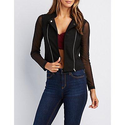 Mesh Sleeve Moto Jacket