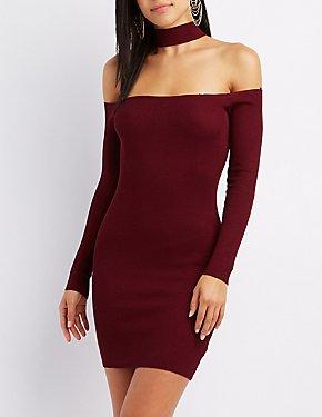 Choker Neck Off-The-Shoulder Bodycon Dress