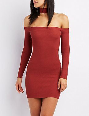 Sweater Knit Floating Choker Neck Bodycon Dress