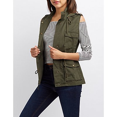 Hooded Drawstring Utility Vest