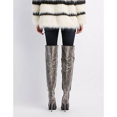 Faux Snakeskin Over-The-Knee Boots