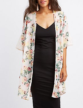 Floral Lace-Inset Kimono