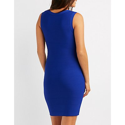 Bandage V-Neck Zipper Dress
