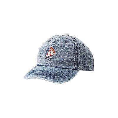 Denim Pizza Patch Baseball Hat