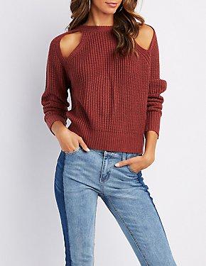 Shaker Stitch Cut-Out Sweater