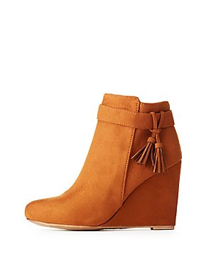 Bamboo Tassel Wedge Booties