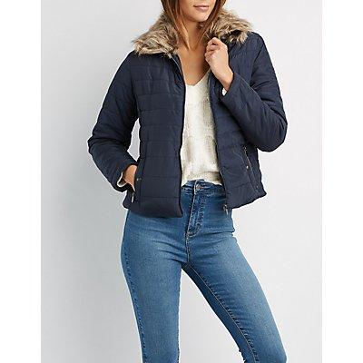 Faux Fur-Trim Puffer Jacket