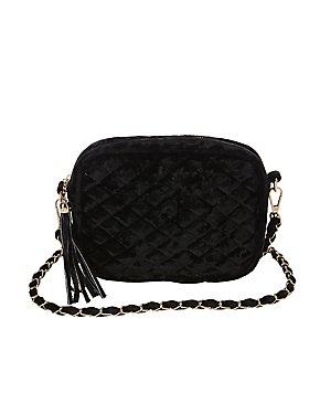 Velvet Quilted Crossbody Bag