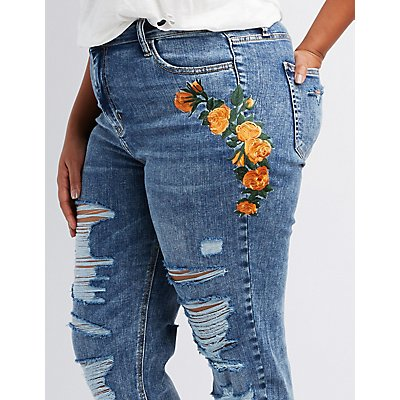 Cello Plus Size Floral Embroidered Destroyed Boyfriend Jeans