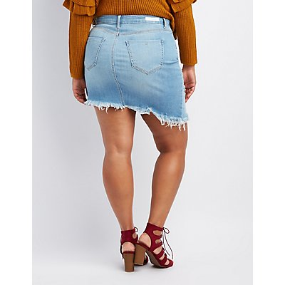 Plus Size Cello Destroyed Denim Asymmetrical Skirt