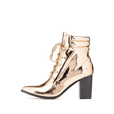 Metallic Pointed Toe Lace-Up Booties