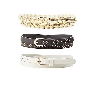 Plus Size Stamped, Studded and Braided Faux Leather Belts - 3 Pack