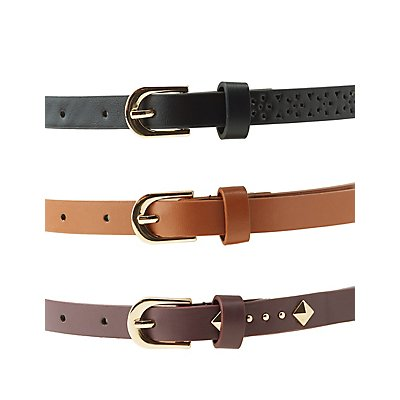 Plus Size Embroidered, Studded, & Laser Cut Belts - 3 Pack