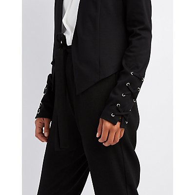Lace-Up Sleeve Blazer