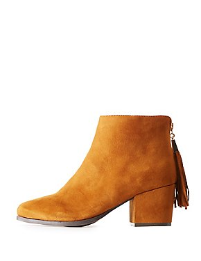 Bamboo Faux Suede Tassel-Back Ankle Booties