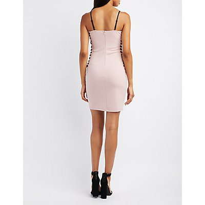 Lace-Up Sides Bustier Bodycon Dress