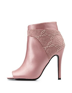 Lace-Trim Peep Toe Ankle Booties