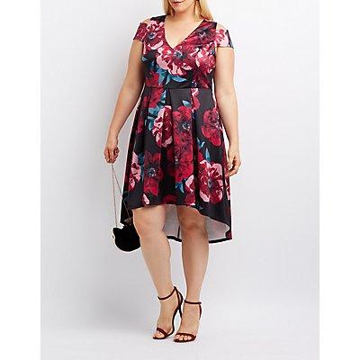 Plus Size Floral Cold Shoulder Skater Dress