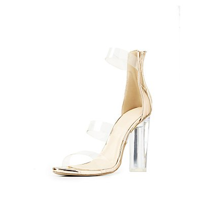 Ankle Strap Clear Heel Sandals