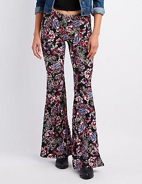 Floral Print Flare Pants