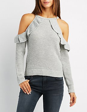 Shaker Stitch Ruffle-Trim Cold Shoulder Sweater
