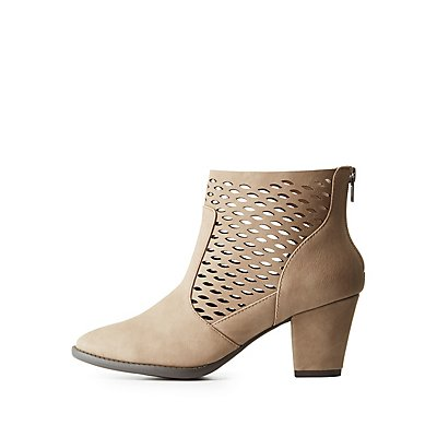 Perforated Block Heel Booties