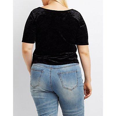 Plus Size Velvet Scoop Neck Crop Top