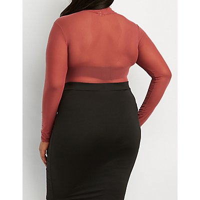 Plus Size Sheer Mesh Mock Neck Bodysuit