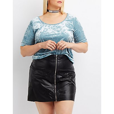 Plus Size Velvet Scoop Neck Crop Top