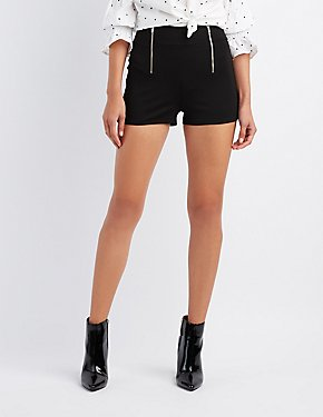 Zipper-Trim Ponte Shorts