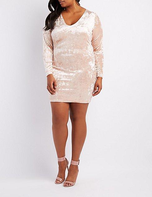 Plus Size Crushed Velvet V Neck Bodycon Dress Charlotte Russe