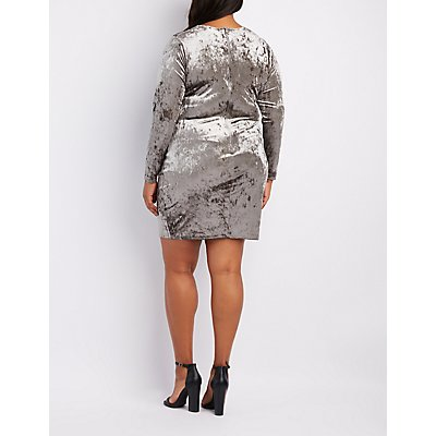 Plus Size Crushed Velvet V-Neck Bodycon Dress