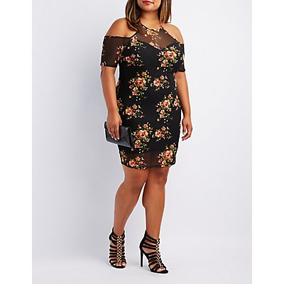Plus Size Floral Mesh Cold Shoulder Dress