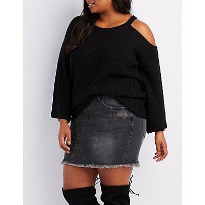 Plus Size Shaker Stitch Asymmetrical Cold Shoulder Sweater
