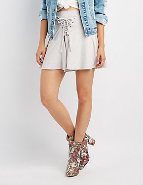 Faux Suede Lace-Up Skater Skirt