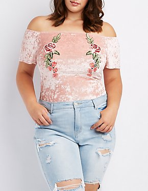 Plus Size Velvet Embroidered Off-The-Shoulder Bodysuit