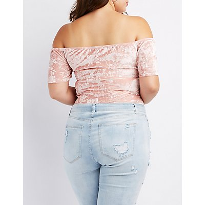 Plus Size Velvet Embroidered Off-The-Shoulder Bodysuit