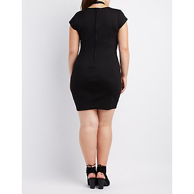 Plus Size Crisscross-Front Bodycon Dress
