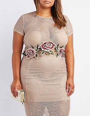 Plus Size Embroidered Mesh Crop Top